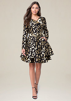 Gold Leopard Trench Coat