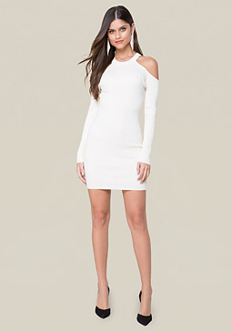 bebe Ribbed Cold Shoulder Dress