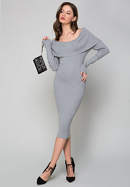 bebe Rib Knit Off Shoulder Dress