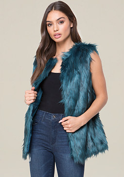 bebe Color Faux Fur Vest