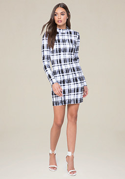 bebe Plaid Mock Neck Dress
