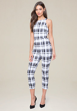bebe Plaid Open Back Jumpsuit