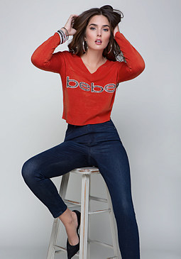 bebe Embellished Logo Sweater