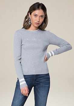 bebe Logo Sporty Ribbed Sweater