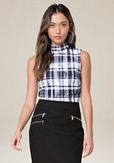 bebe Black & White Plaid Top