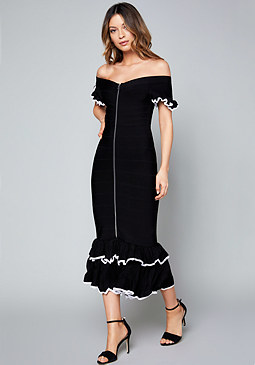 bebe Adele Ruffled Midi Dress