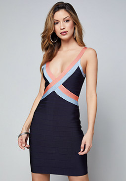 bebe V-Neck Bandage Dress