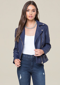 bebe Faux Leather Zip Jacket