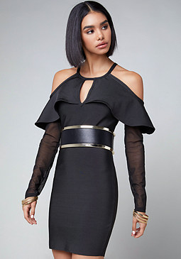 bebe Cold Shoulder Bandage Dress