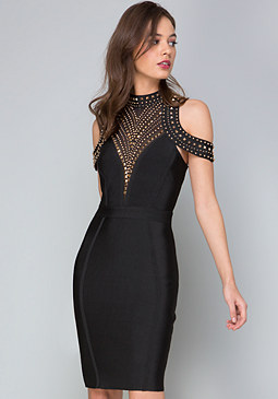 bebe Studded Cold Shoulder Dress