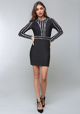 bebe Crystal Trim Bandage Dress