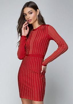 bebe Beaded Stripe Dress
