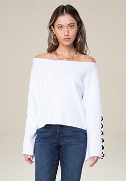 bebe Lace Up Sleeve Sweater
