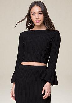 Flare Sleeve Crop Sweater