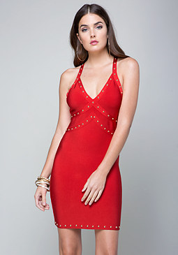 bebe Studded T-Back Dress