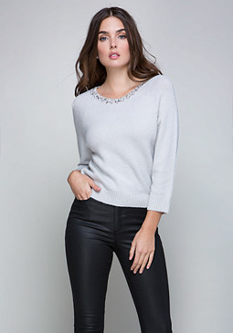 bebe Embellished Neck Sweater