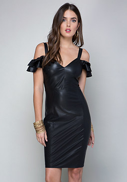 bebe Ruffle Faux Leather Dress
