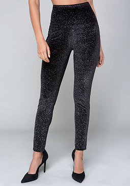 bebe Metallic Velvet Leggings