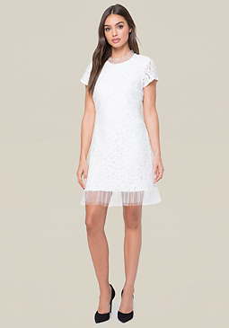 bebe Ruffle Neck & Hem Dress