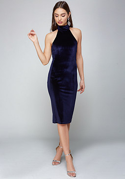 bebe Velvet Mock Neck Midi Dress