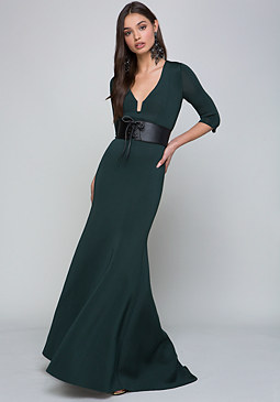 bebe 3/4 Sleeve Mermaid Gown