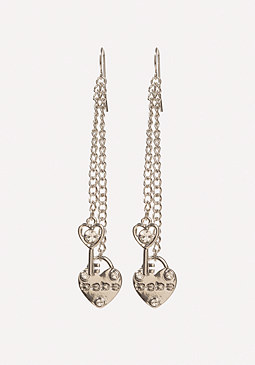 bebe Logo Heart Earrings
