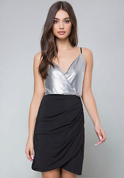 bebe Metallic Overlay Dress