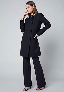 bebe Crystal Collar Pea Coat