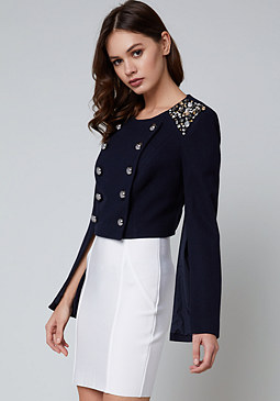 bebe Crystal Shoulder Jacket