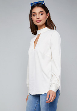 bebe Hammered Satin Top