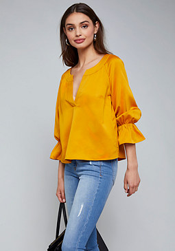 bebe Satin Puff Sleeve Top