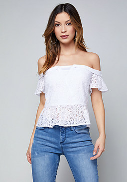 bebe Off Shoulder Peplum Top