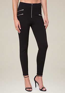 bebe Ponte Zip Leggings