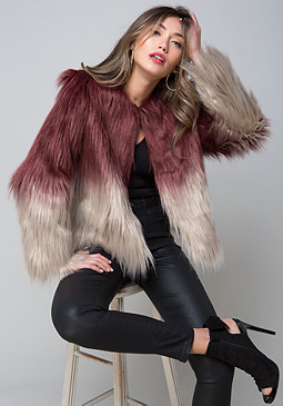 bebe Ombre Faux Fur Jacket
