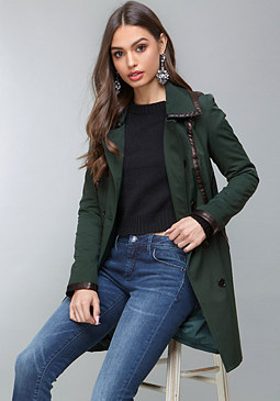 bebe Contrast Trim Trench Coat