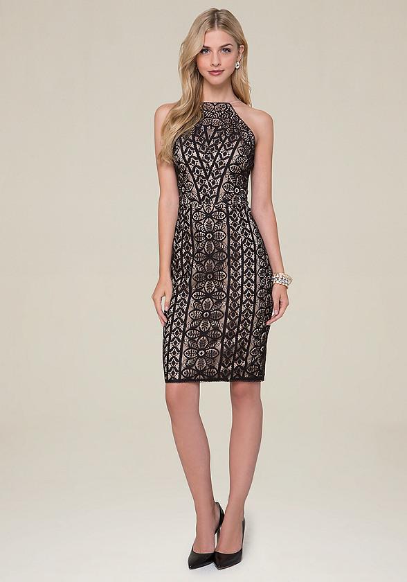 Lace Halter Cut Dress