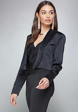 bebe Crystal Lapel Satin Jacket
