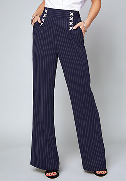 bebe Avery Striped Lace Up Pants