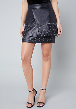 bebe Studded Faux Leather Skirt