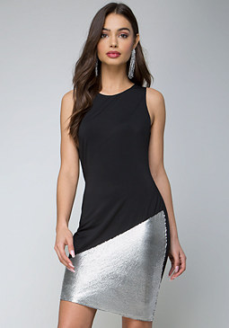 bebe Metallic & Jersey Dress