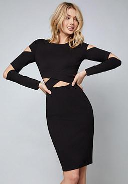 bebe Leah Cutout Ponte Dress
