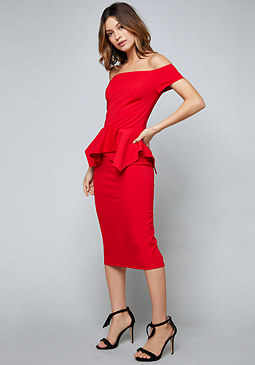 bebe Peplum Midi Dress