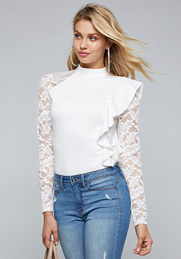bebe Camille One Ruffle Top