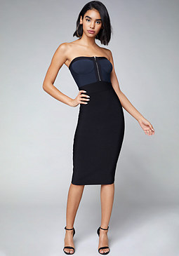 bebe Zip Front Strapless Dress