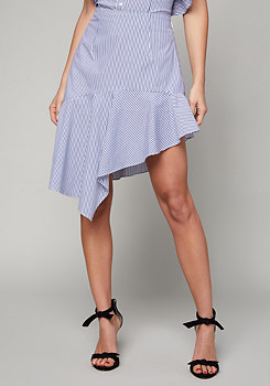 bebe Striped Asymmetric Skirt