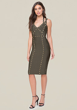 bebe Embellished 3-Strap Dress
