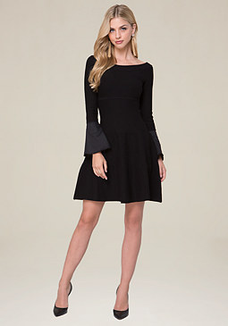 bebe Poplin Bell Sleeve Dress
