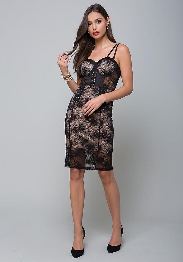 Lace inset corset dress