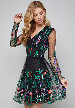 bebe Embroidered Flared Dress