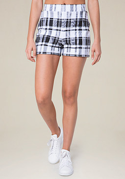 bebe Black & White Plaid Shorts